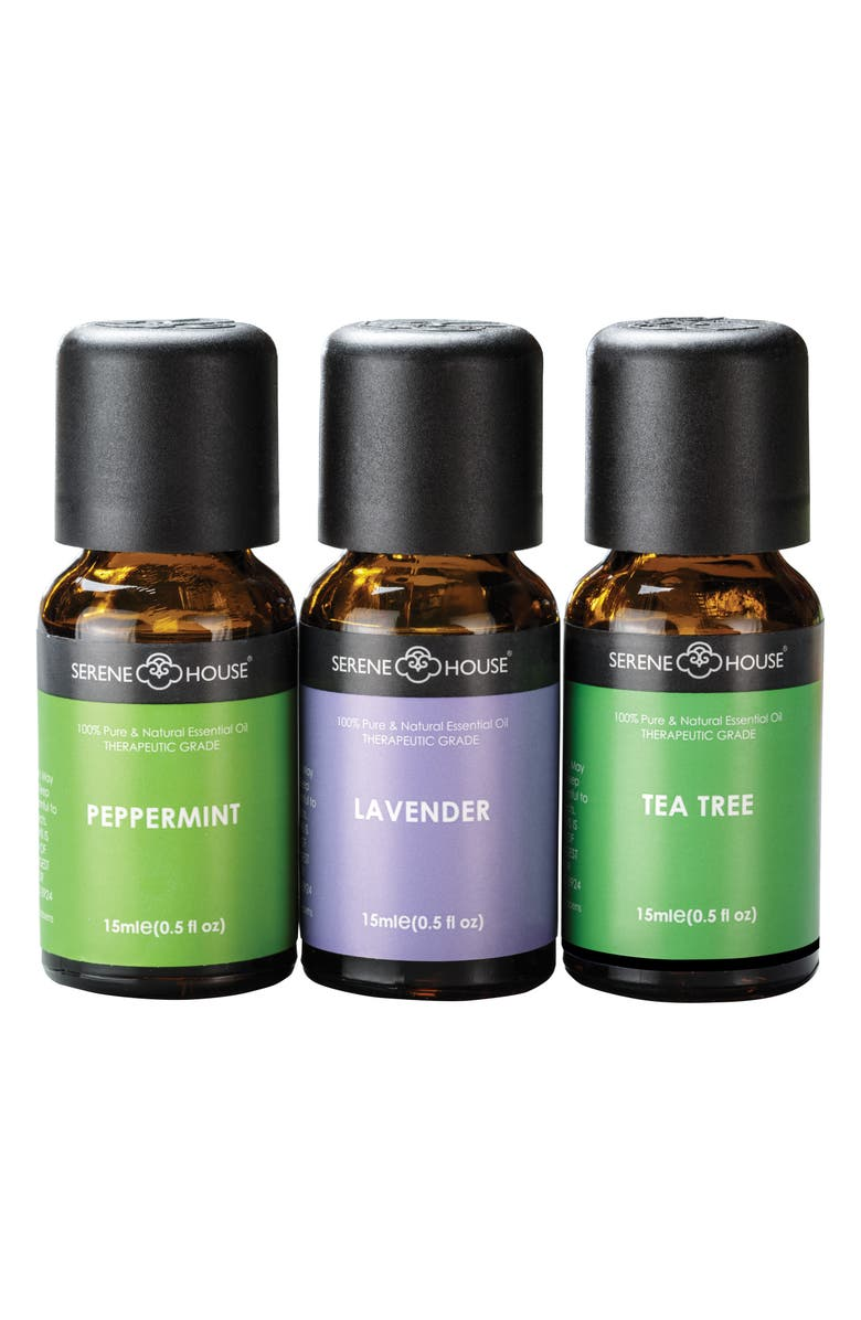 SERENE HOUSE Pure & Natural 3-Pack Essential Oils, Main, color, APOTHECARY