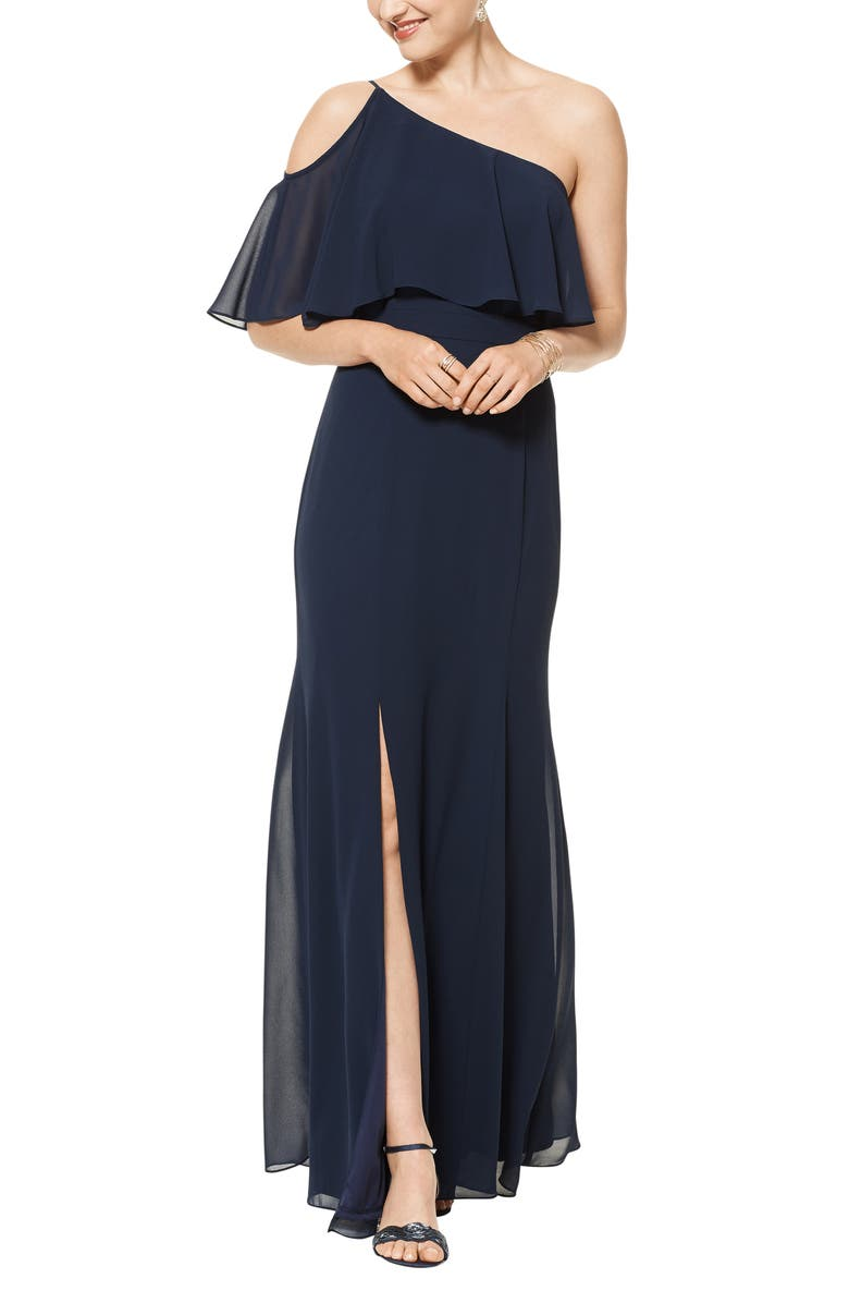 #LEVKOFF One-Shoulder Chiffon A-Line Gown, Main, color, NAVY