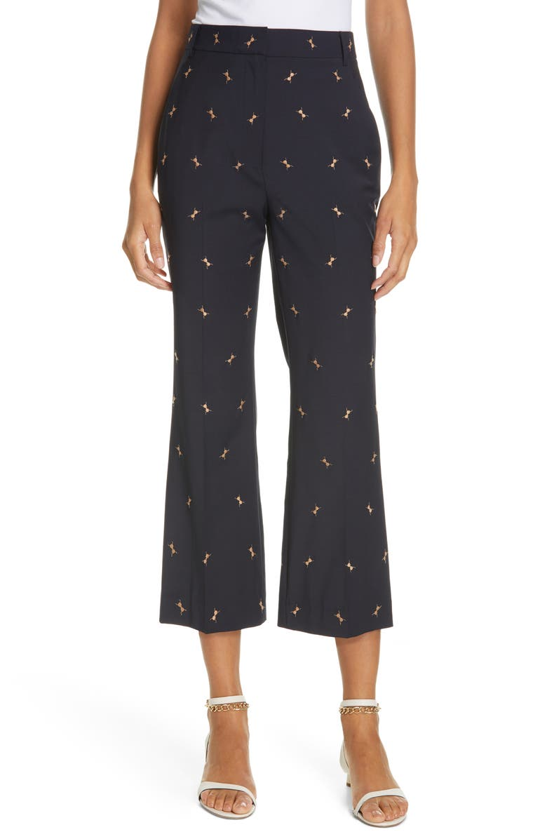 TIBI Ant Embroidered Crop Flare Pants, Main, color, 400