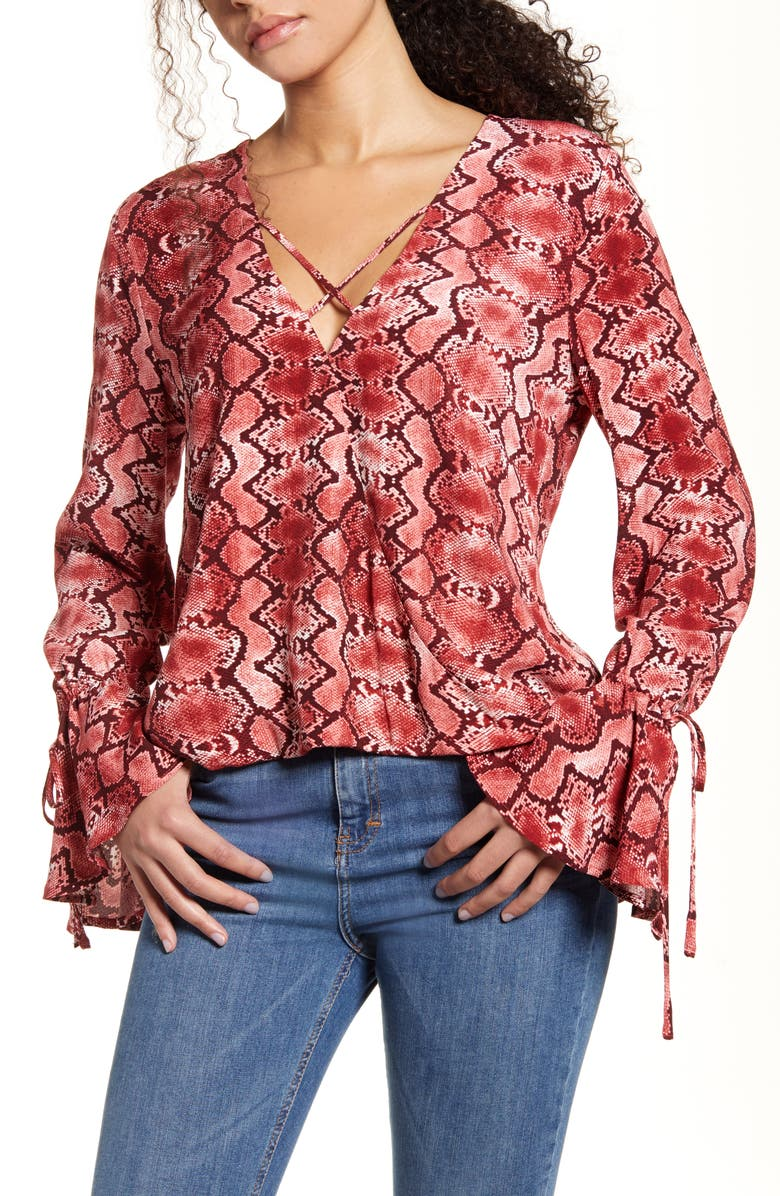 BAND OF GYPSIES Welcome to the Jungle Flare Cuff Top, Main, color, 600