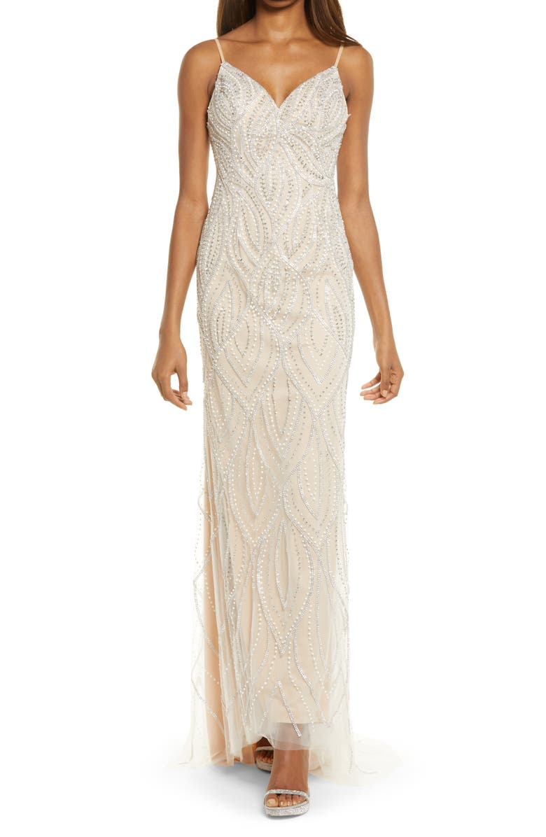LULUS Luxe of a Lifteime Beaded Mermaid Gown, Main, color, BEIGE