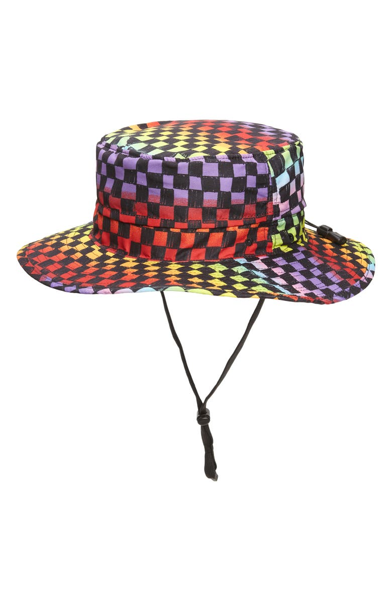 BP. Be Proud by BP Gender Inclusive Checkboard Twill Drawstring Hat, Main, color, BLACK MULTI
