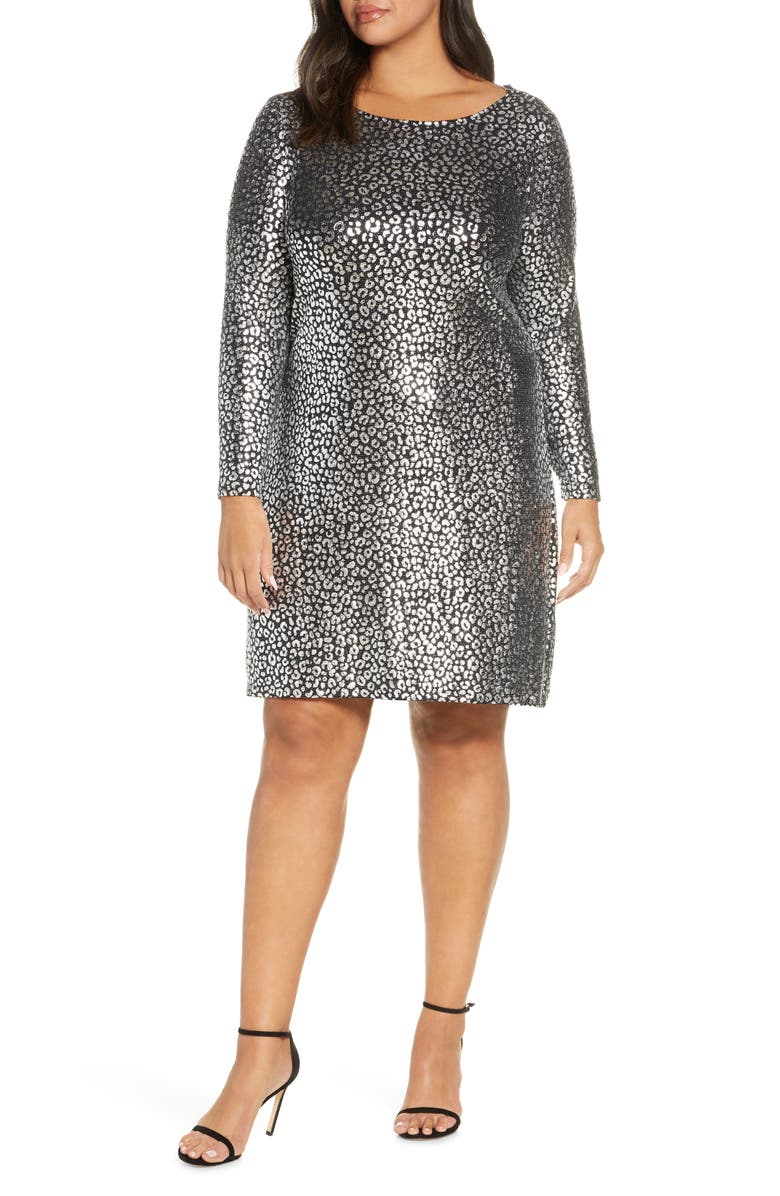 MICHAEL MICHAEL KORS Catty Foiled Long Sleeve Cocktail Dress, Main, color, 001