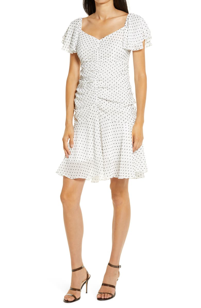 4SI3NNA Marley Ruched Minidress, Main, color, WHITE-BLACK DOT