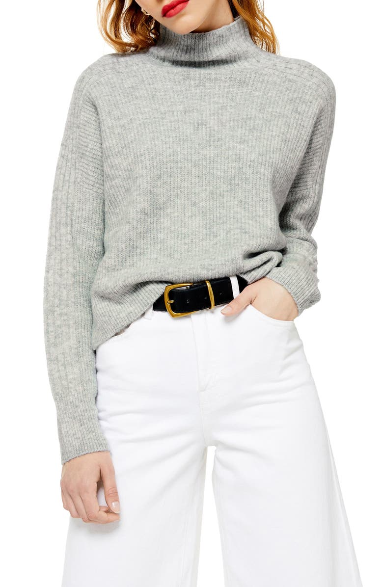 TOPSHOP Funnel Neck Crop Sweater, Main, color, 020