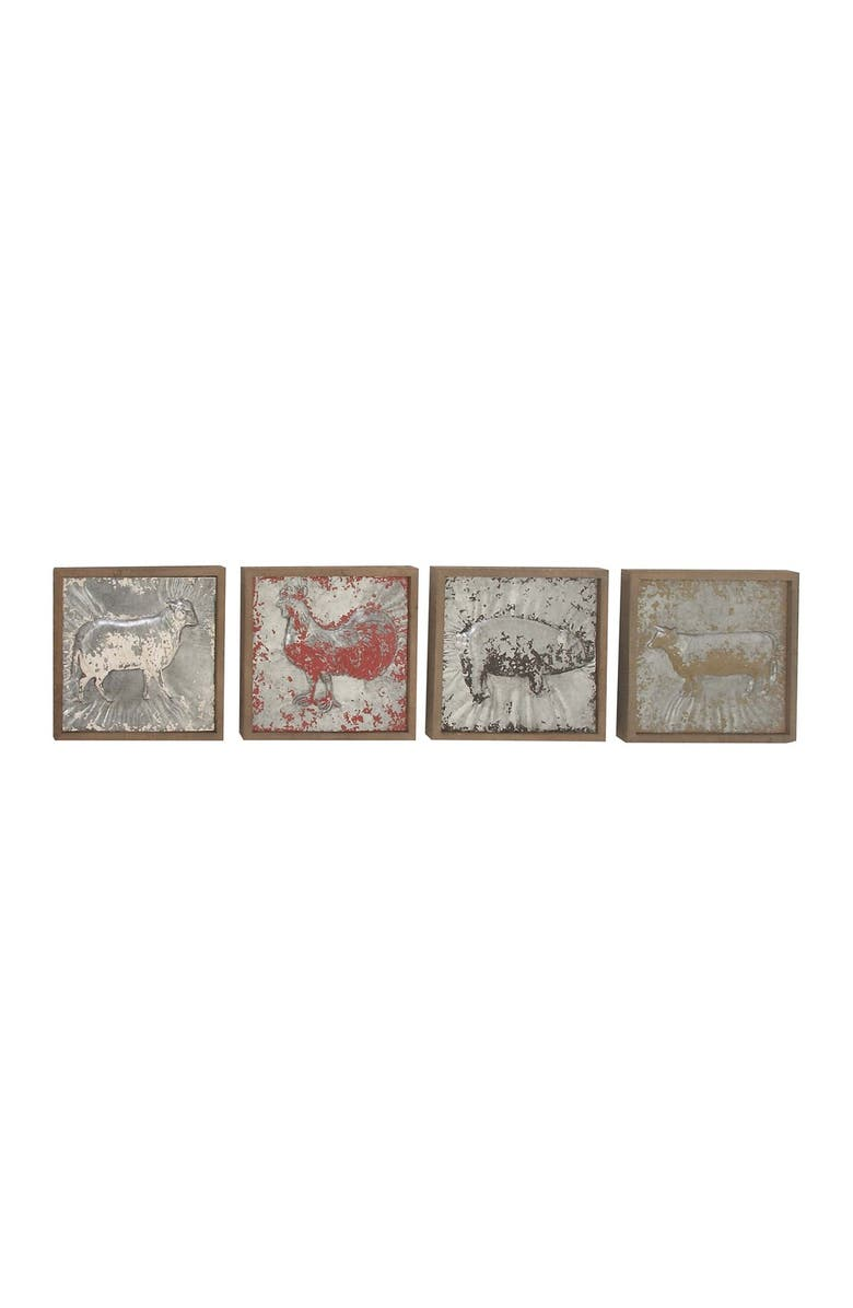 WILLOW ROW Metal Wood Plaques - Set of 4, Main, color, GREY