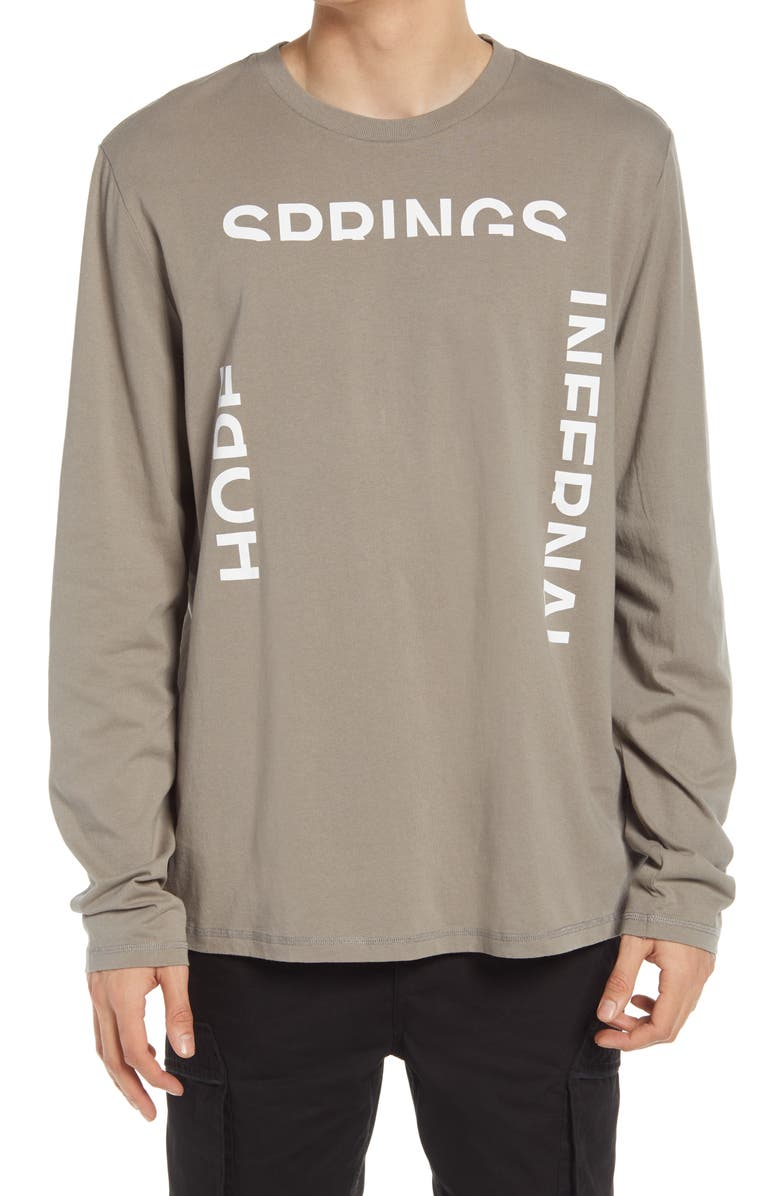 ALLSAINTS Infernal Long Sleeve Graphic Tee, Main, color, WILLOW TAUPE