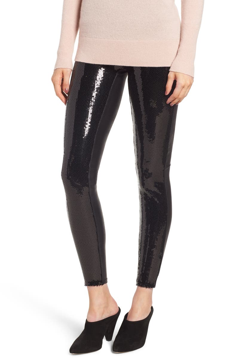 SPANX<SUP>®</SUP> Sequin Faux Leather Leggings, Main, color, 017