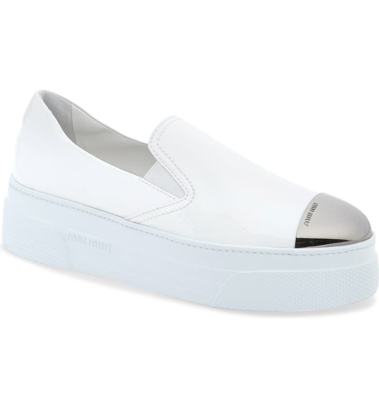 MIU MIU Platform Slip-On Sneaker, Main, color, WHITE