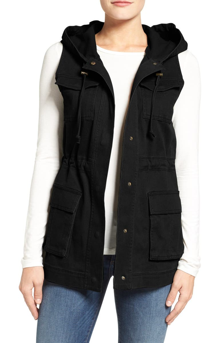 MATTY M Hooded Military Vest, Main, color, 001