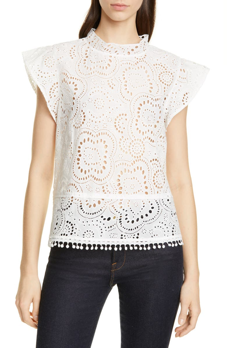 NORDSTROM SIGNATURE Embroidered Flutter Sleeve Top, Main, color, 100