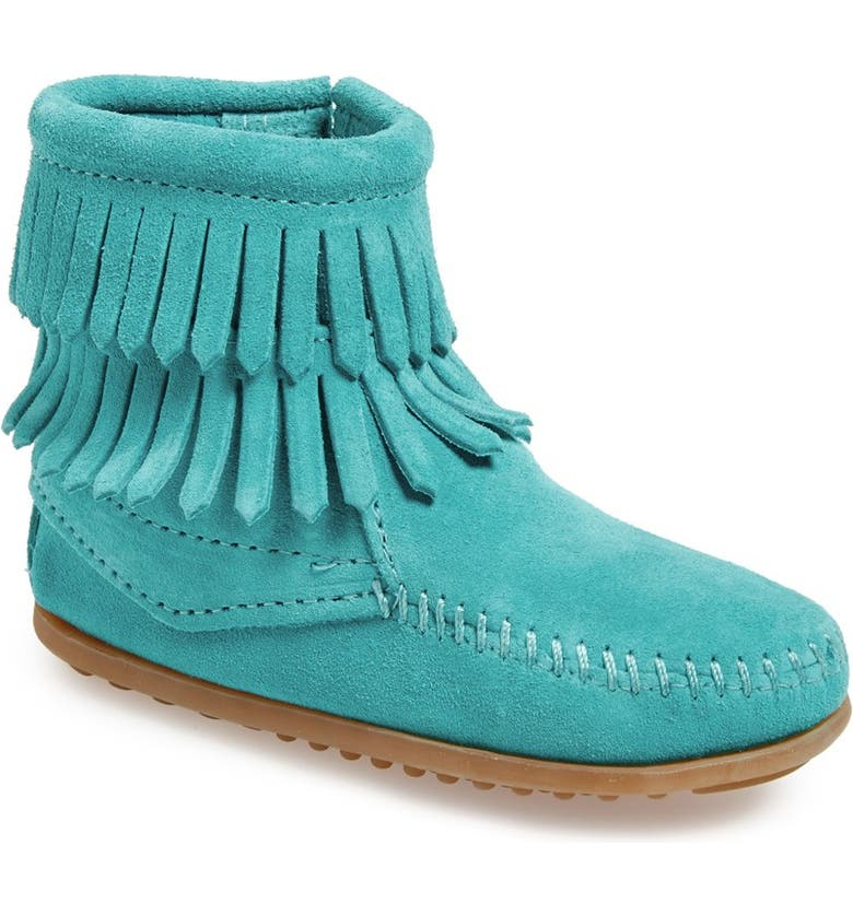 MINNETONKA 'Double Fringe' Boot, Main, color, TURQUOISE