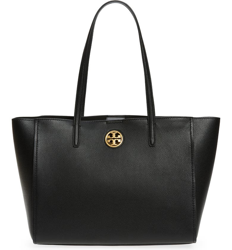 TORY BURCH Carson Leather Tote, Main, color, BLACK