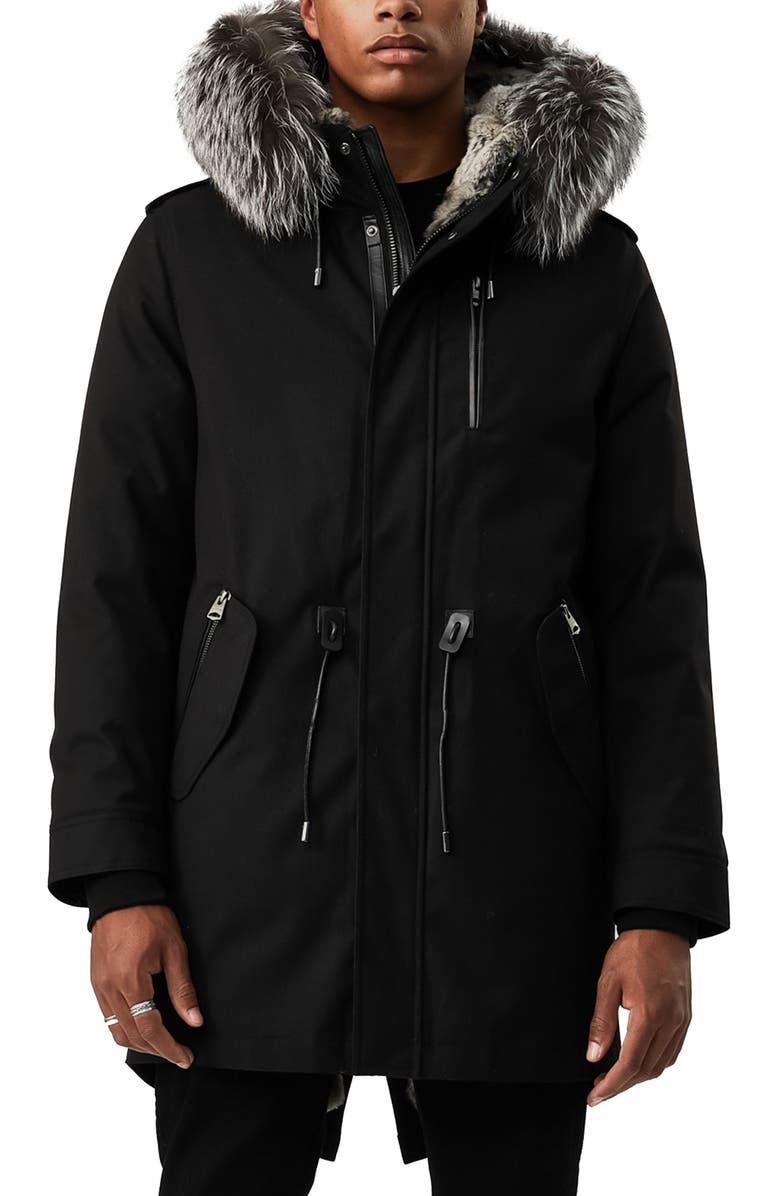 MACKAGE Moritz Water Repellent Military Parka with Genuine Rabbit Fur and Genuine Fox Fur Trim, Main, color, BLACK