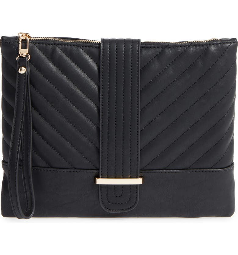 EMPERIA Quilted Faux Leather Clutch, Main, color, Black