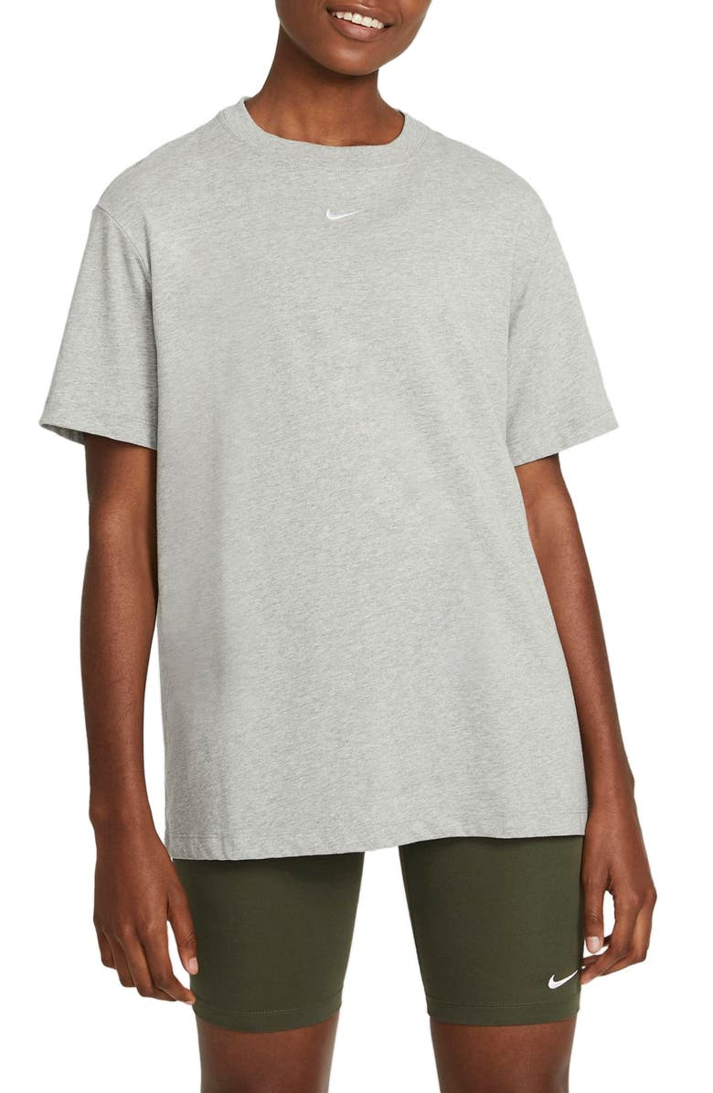 NIKE Essential Embroidered Swoosh Cotton T-Shirt, Main, color, DARK GREY HEATHER/ WHITE