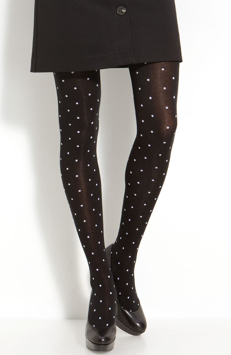KATE SPADE NEW YORK 'scattered dot' tights, Main, color, 001