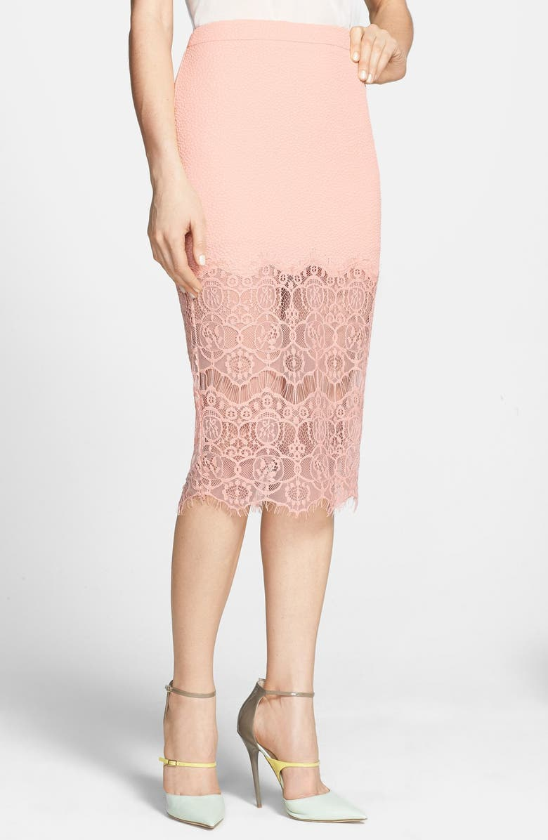 ASTR THE LABEL ASTR Textured Lace Hem Pencil Skirt, Main, color, PINK SHELL