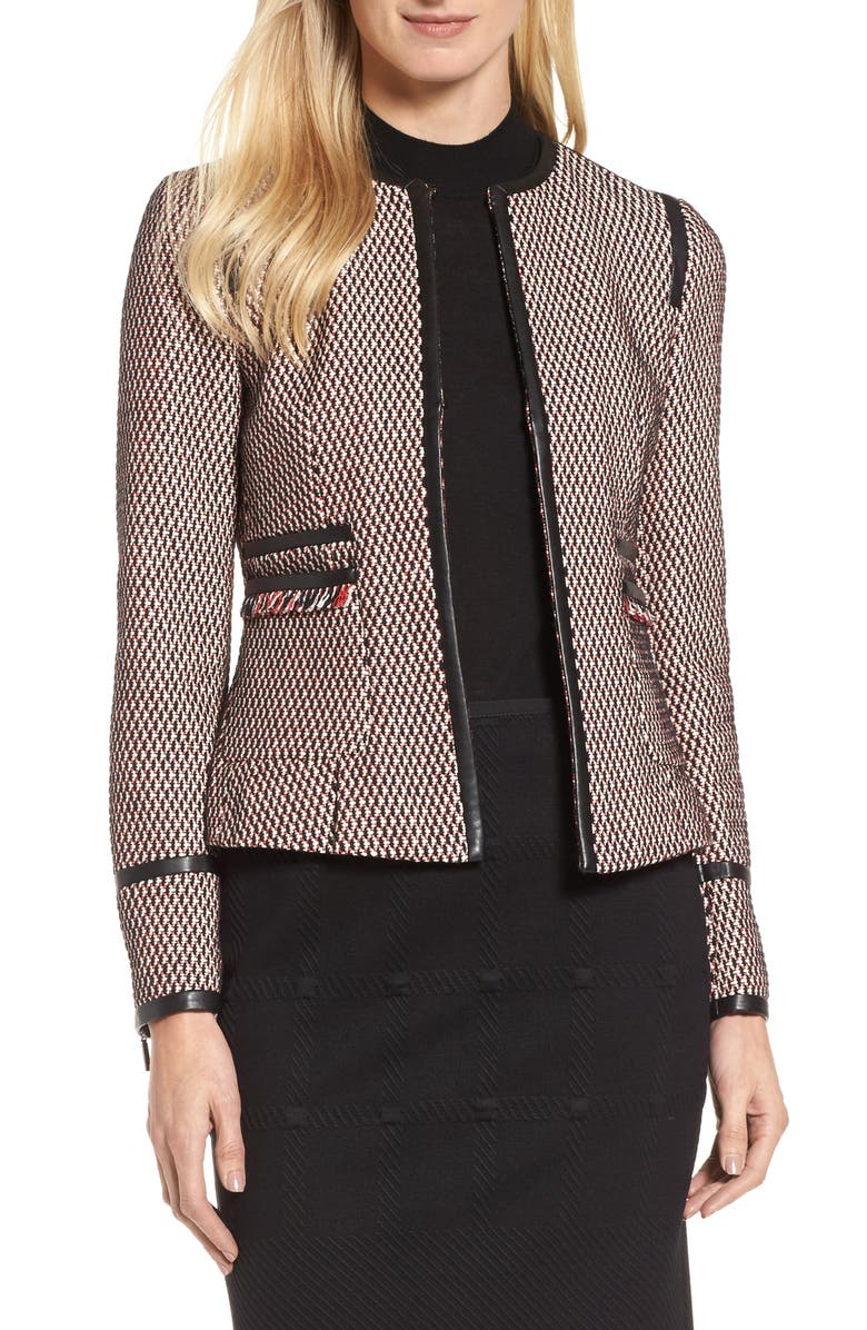BOSS Keili Collarless Tweed Jacket, Main, color, 963