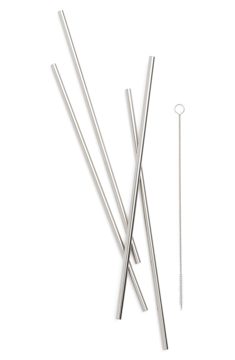 W&P DESIGN Porter Set of 4 Reusable Metal Straws, Main, color, 040