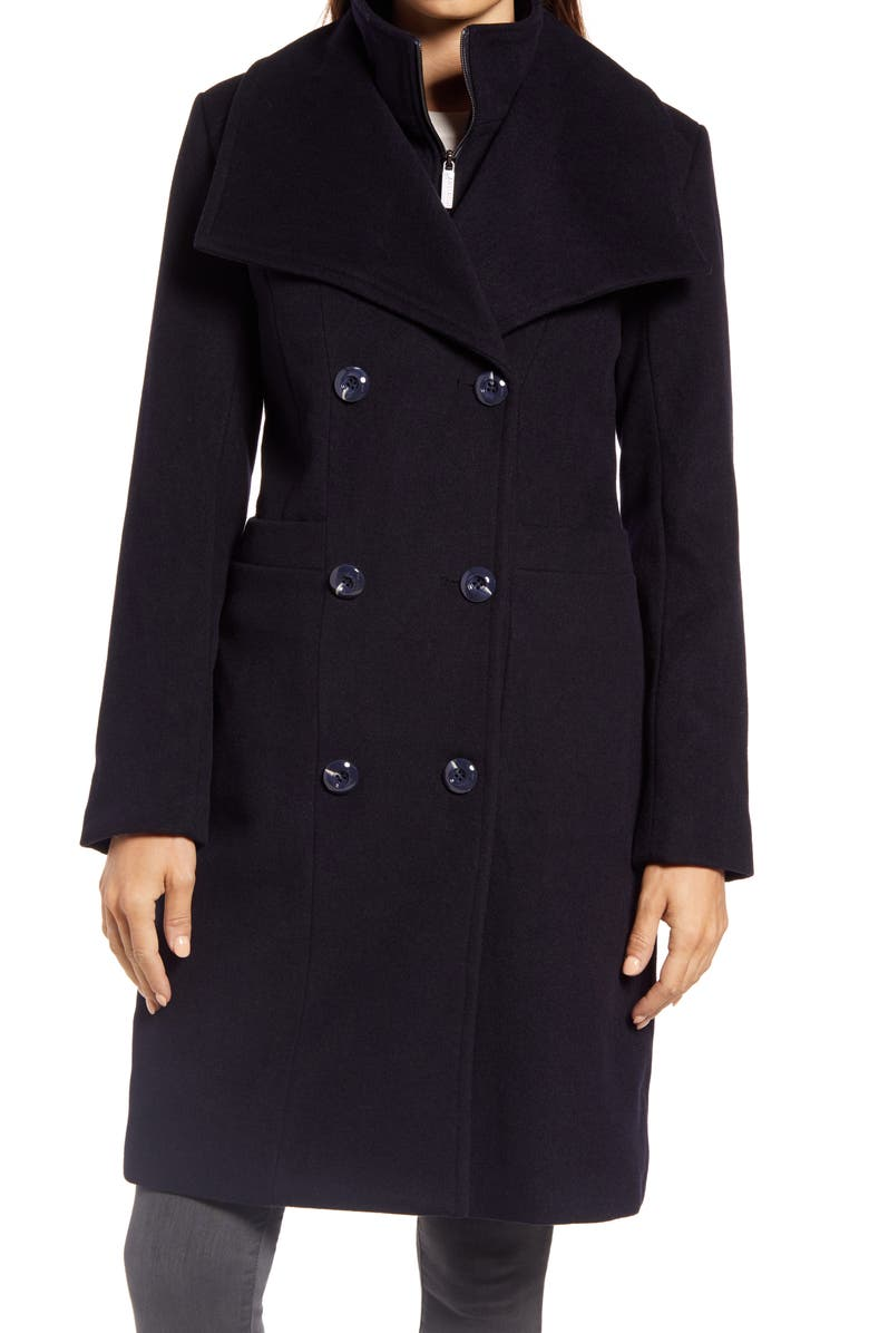 ELLEN TRACY Double Breasted Wool Blend Coat with Bib, Main, color, NAVY