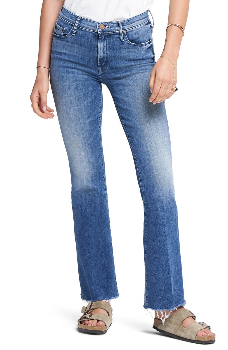MOTHER Fray Hem Bootcut Jeans, Main, color, 420