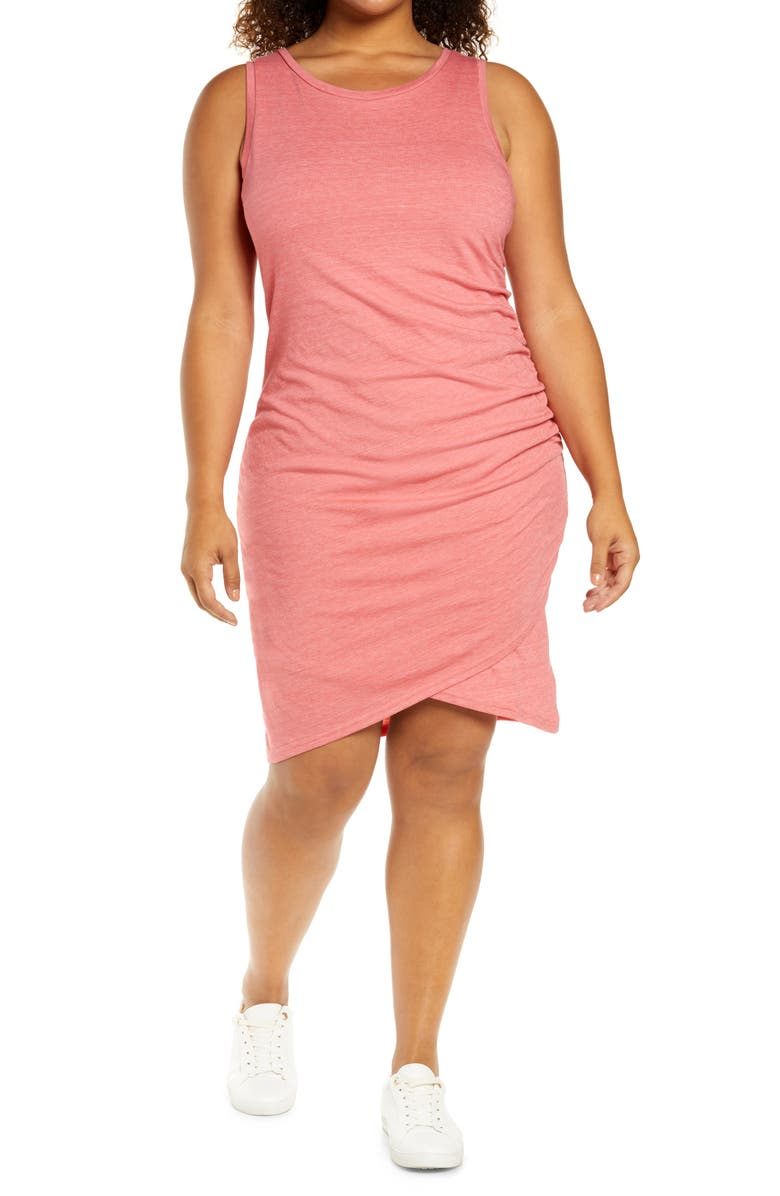 TREASURE & BOND Ruched Sleeveless Jersey Dress, Main, color, PINK DUNE HEATHER