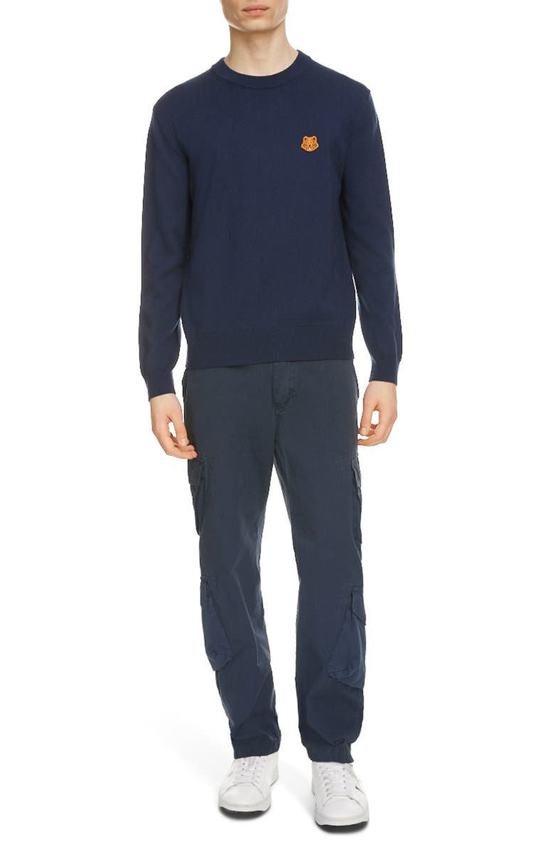 KENZO Tiger Crest Crewneck Wool Sweater, Main, color, NAVY BLUE