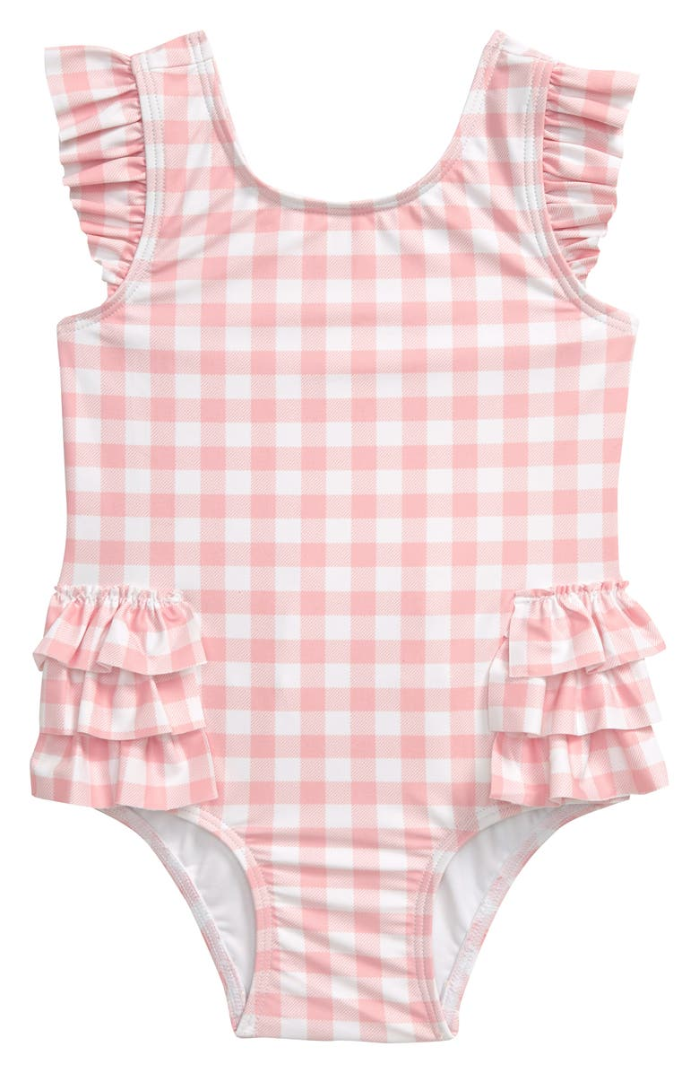 TUCKER + TATE Ruffle One-Piece Swimsuit, Main, color, PINK POWDER GINGHAM