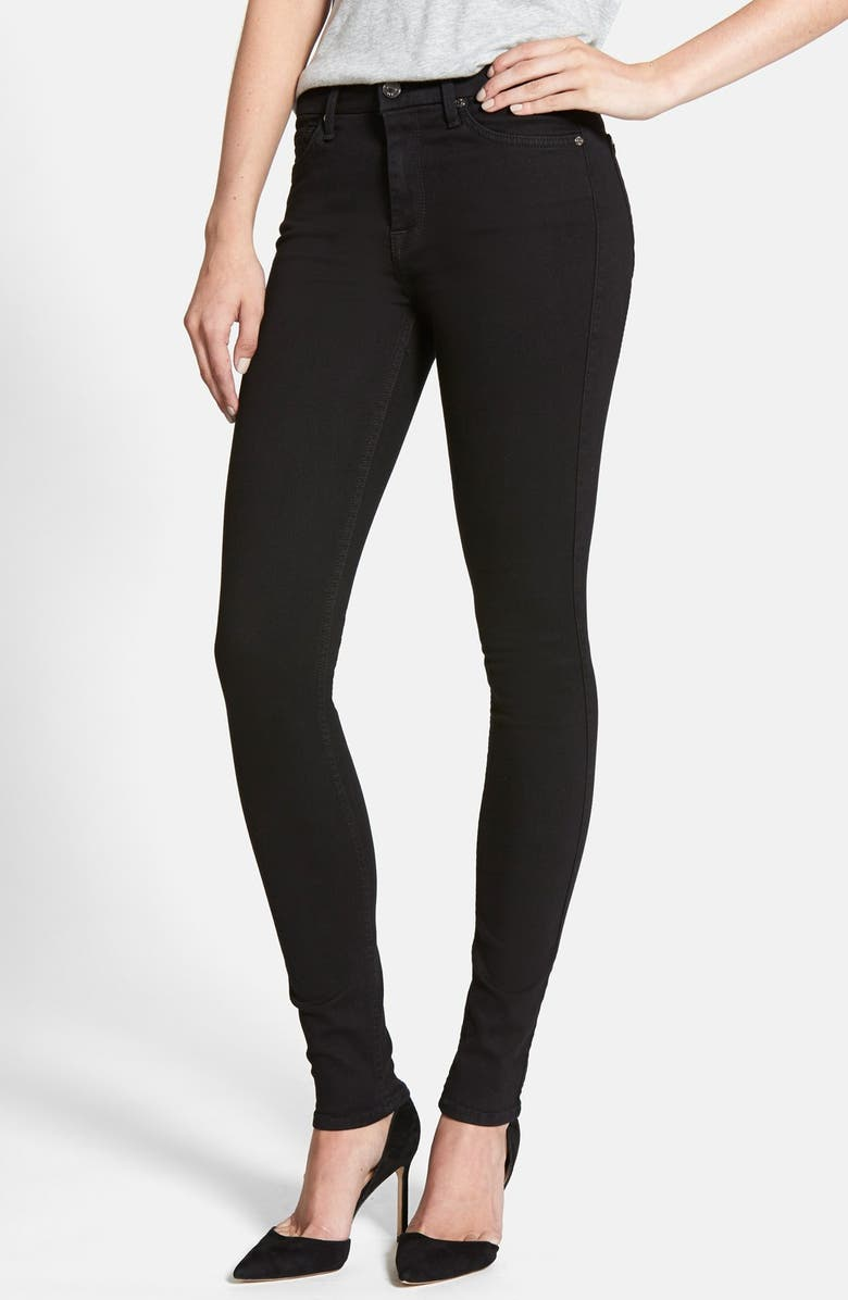 7 FOR ALL MANKIND 'Slim Illusion Luxe' High Waist Skinny Jeans, Main, color, SLIM ILLUSION LUXE BLACK
