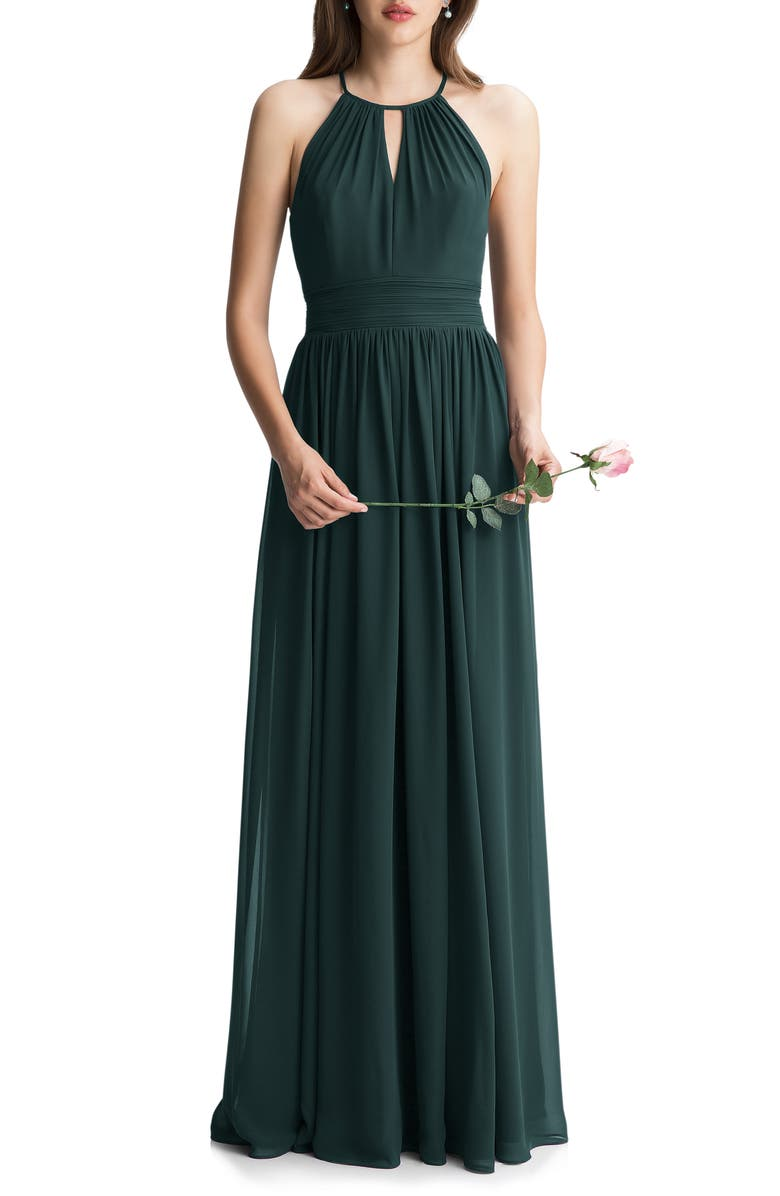 #LEVKOFF Keyhole Neck Chiffon A-Line Gown, Main, color, EVERGREEN