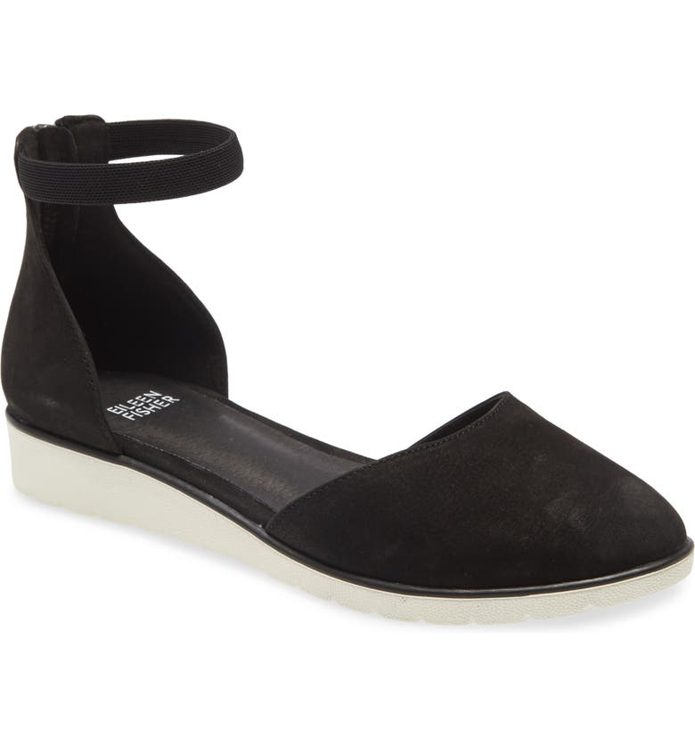 EILEEN FISHER Ankle Strap Wedge, Main, color, 001