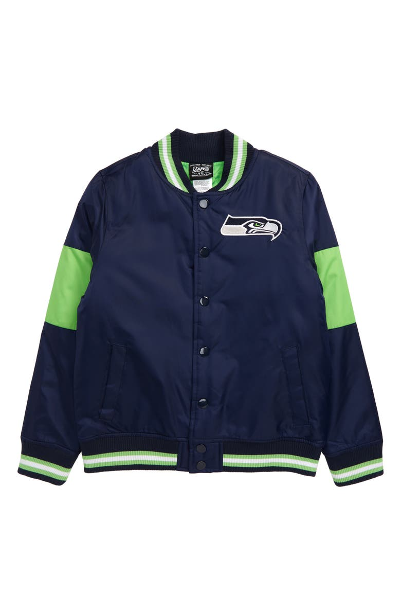 OUTERSTUFF NFL Logo Seattle Seahawks Throwback Varsity Jacket, Main, color, 400
