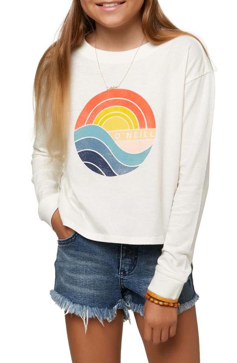 O'NEILL Kids' 1974 Long Sleeve Cotton Graphic Logo Tee, Main, color, NAKED