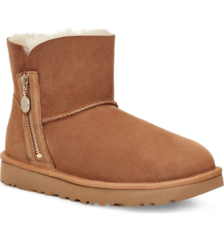UGG<SUP>®</SUP> Mini Bailey Zipper Boot, Main, color, CHESTNUT SUEDE