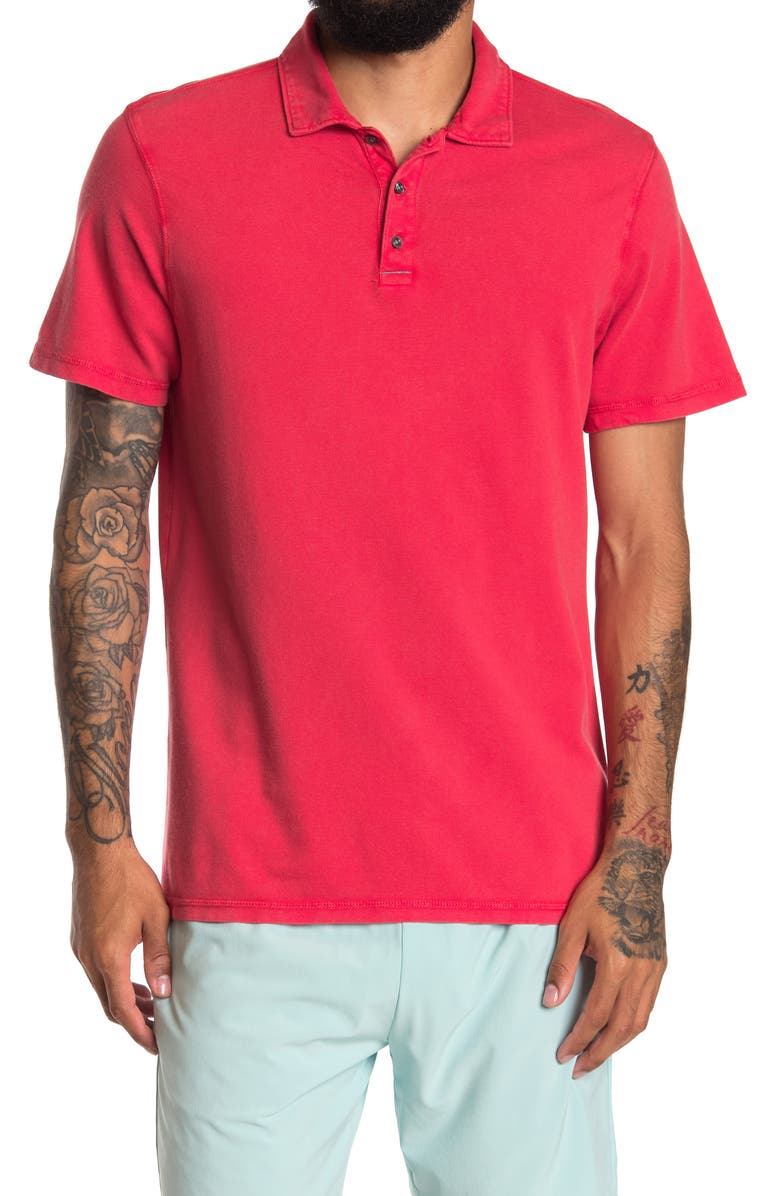 Z BY ZELLA In Game Washed Polo, Main, color, RED HIBISCUS