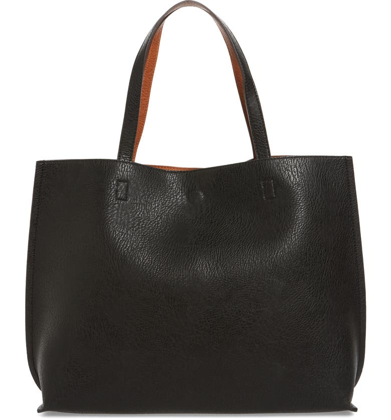 STREET LEVEL Reversible Faux Leather Tote & Wristlet, Main, color, BLACK/ COGNAC