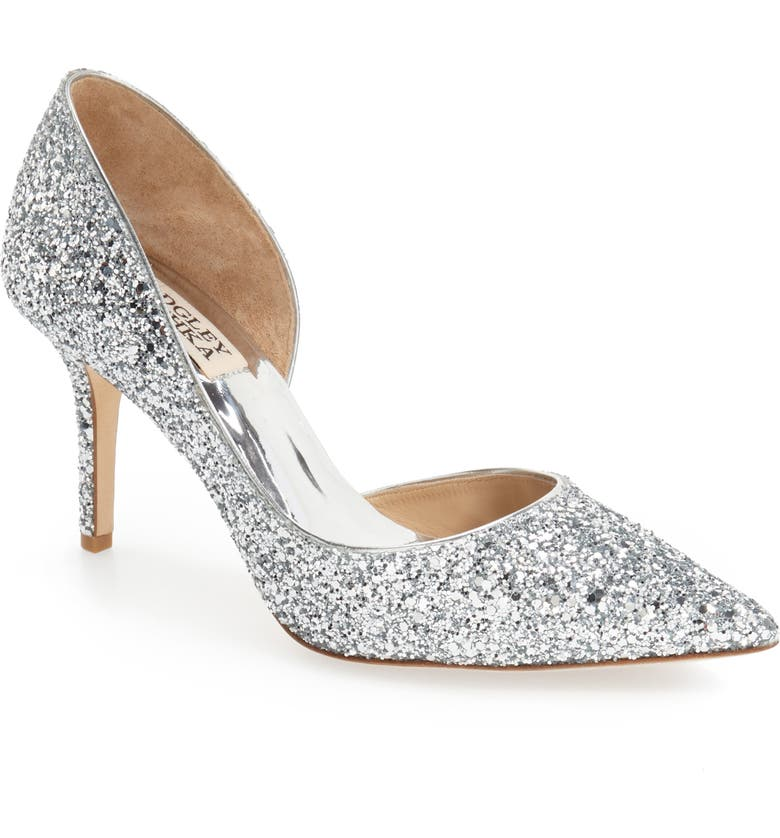 BADGLEY MISCHKA COLLECTION Daisy Embellished Pointed Toe Pump, Main, color, SILVER GLITTER FABRIC