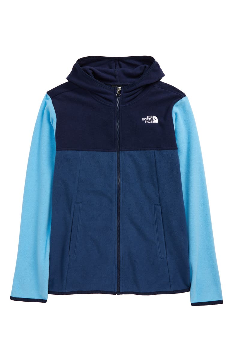 THE NORTH FACE Kids' Glacier Full Zip Hoodie, Main, color, SHADY BLUE/ TNF NAVY