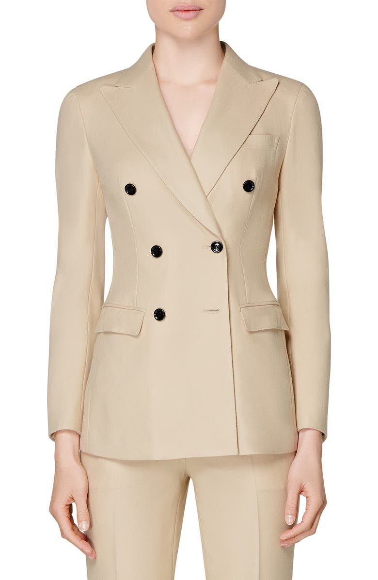 SUISTUDIO Cameron Double Breasted Wool Suit Jacket, Main, color, SAND