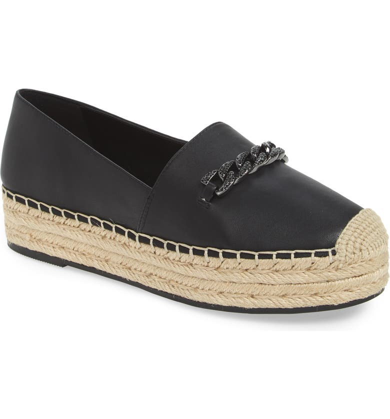 KARL LAGERFELD PARIS Moxy Platform Espadrille, Main, color, BLACK LEATHER
