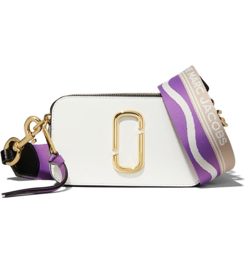 THE MARC JACOBS The Snapshot Leather Crossbody Bag, Main, color, NEW MOON WHITE MULTI