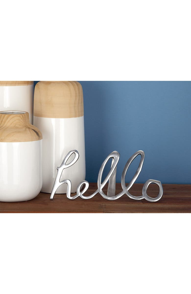 COSMO BY COSMOPOLITAN Large Metal Hello Decorative Sign - Set of 3, Main, color, SILVER GOLD GRAY