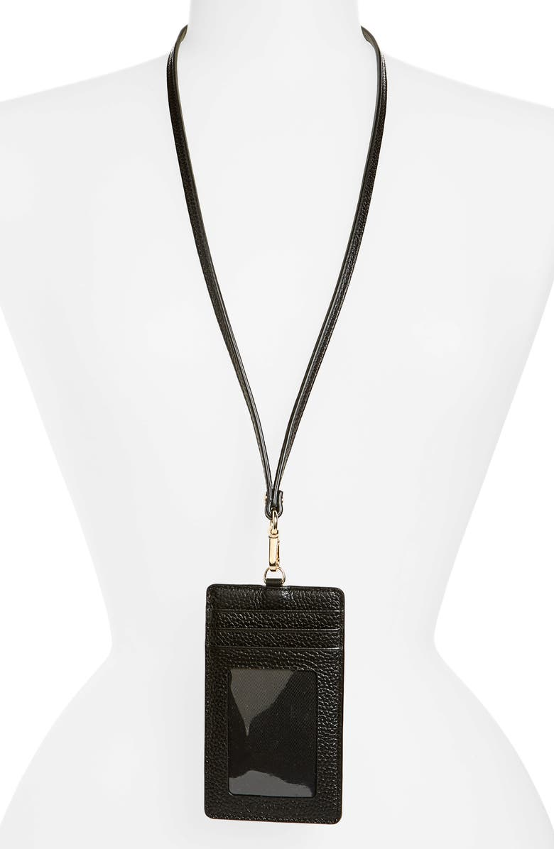 NORDSTROM Alessi Leather Lanyard Card Case, Main, color, 001