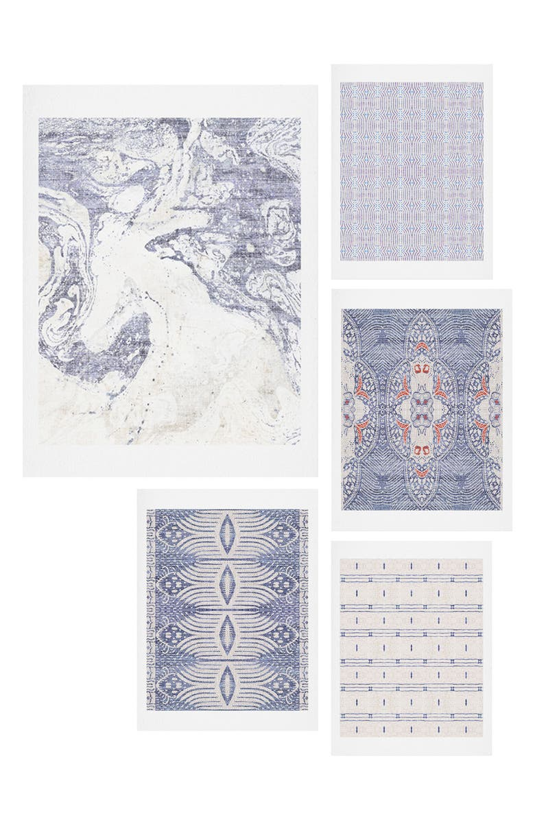 DENY DESIGNS French Linen Five-Piece Gallery Wall Art Print Set, Main, color, Blue