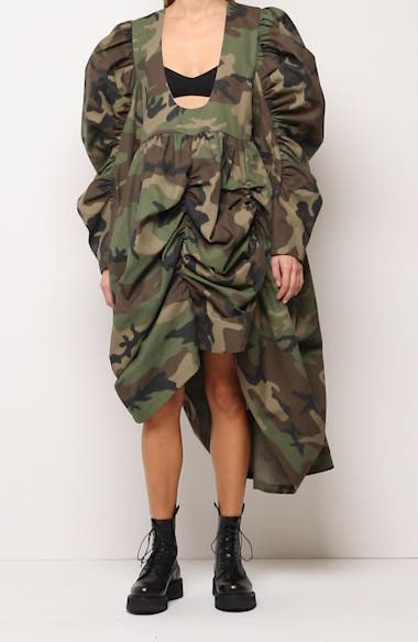 Oversize Camo Print Ruched Dress, video thumbnail