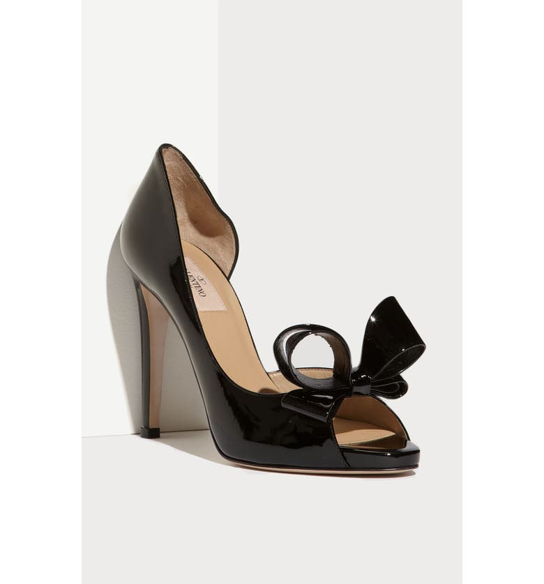 VALENTINO GARAVANI Couture Bow d'Orsay Pump, Main, color, BLACK PATENT