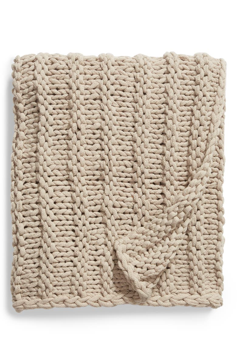 TREASURE & BOND Jersey Rope Chunky Knit Throw Blanket, Main, color, 021