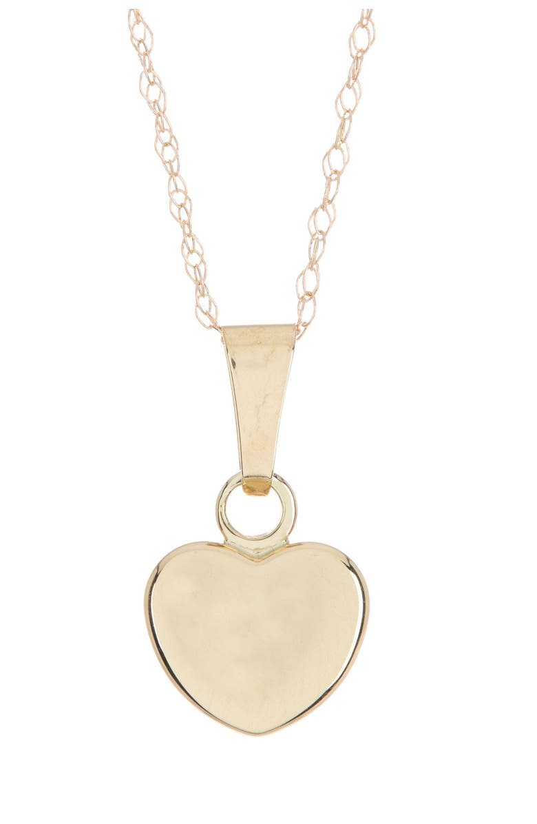 CANDELA JEWELRY 10K Yellow Gold Puffed Heart Pendant Necklace, Main, color, GOLD
