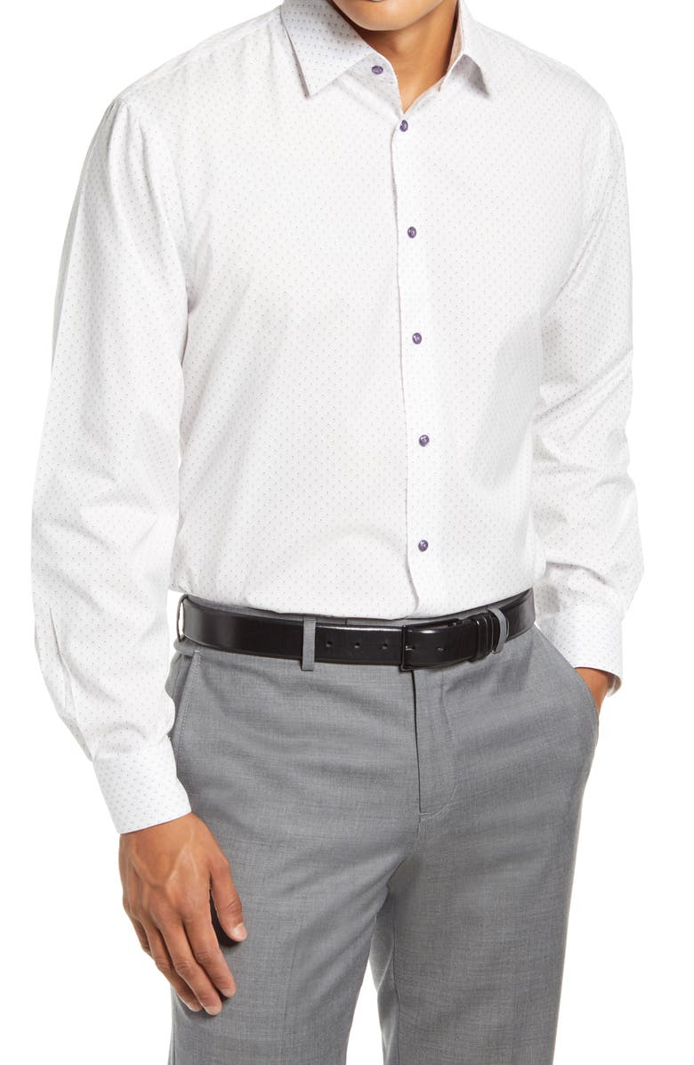 NORDSTROM MEN'S SHOP Nordstrom Traditional Fit Non-Iron Stretch Dress Shirt, Main, color, PURPLE BLOOM
